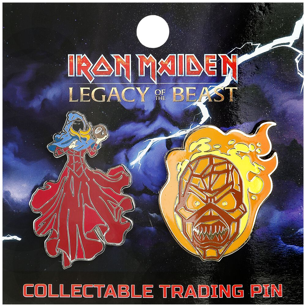 Image of   Iron Maiden Legacy of the Beast - Clairvoyant & Wicker Man Nål multifarvet