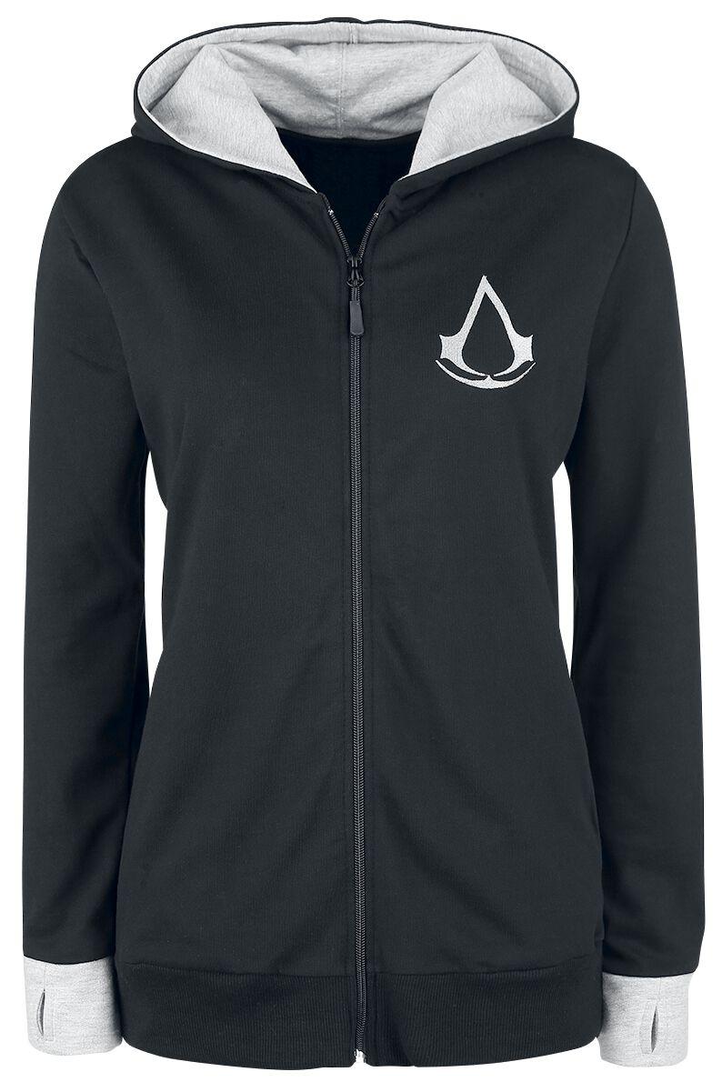 Image of   Assassin's Creed Find Your Past Girlie hættejakke sort-meleret, lys grå