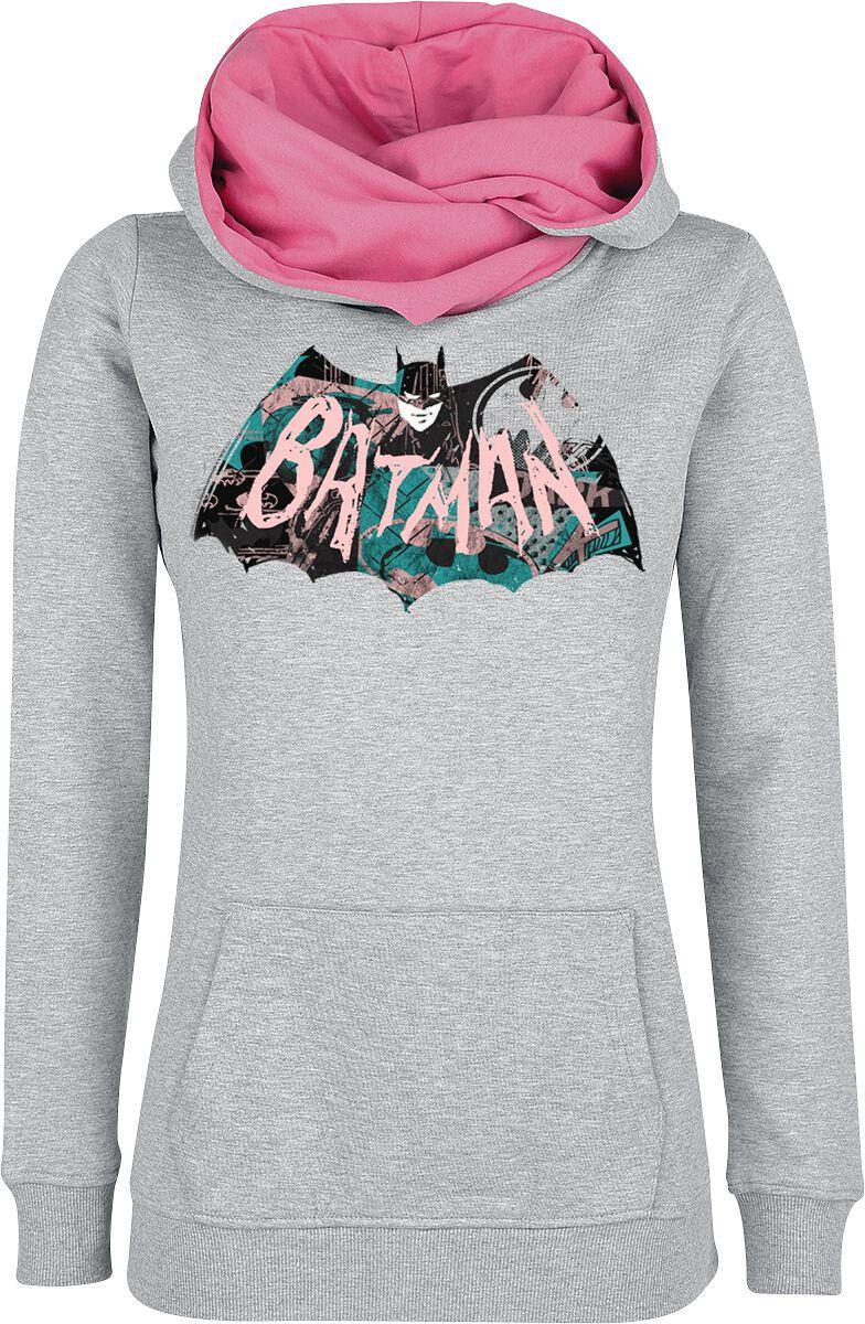 Image of   Batman Logo Girlie hættetrøje meleret grå-pink