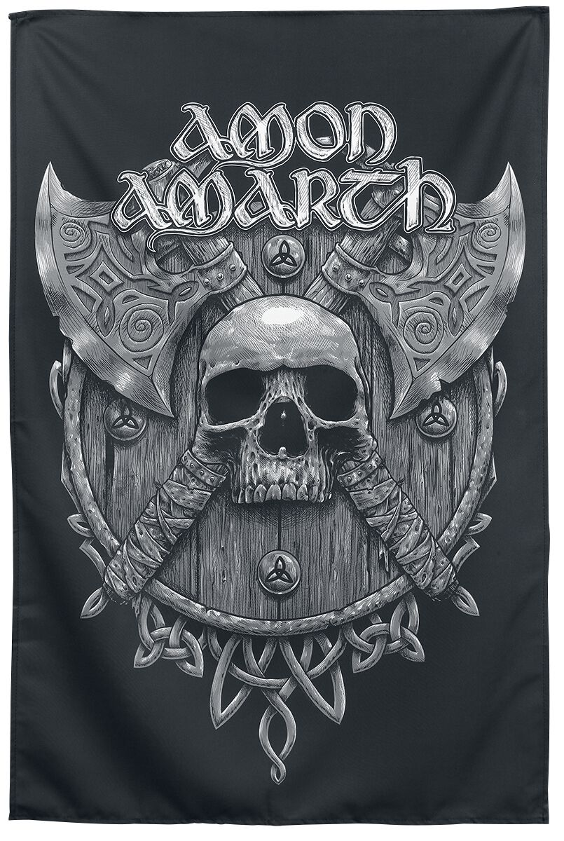 Image of   Amon Amarth Skull and Axes Stofplakat multifarvet