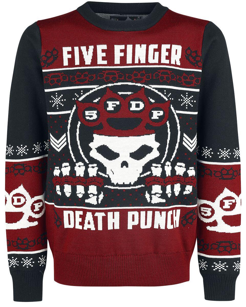 Image of   Five Finger Death Punch Holiday Sweater 2017 Strikketrøje sort-rød-hvid