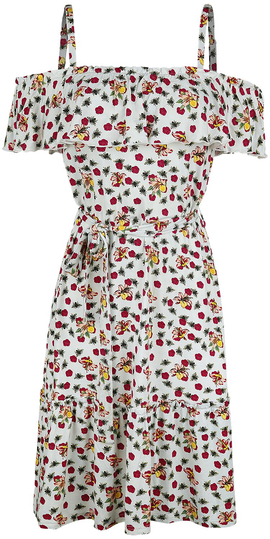 Image of   Pussy Deluxe Flowers and Bees Off Shoulder Dress Kjole multifarvet