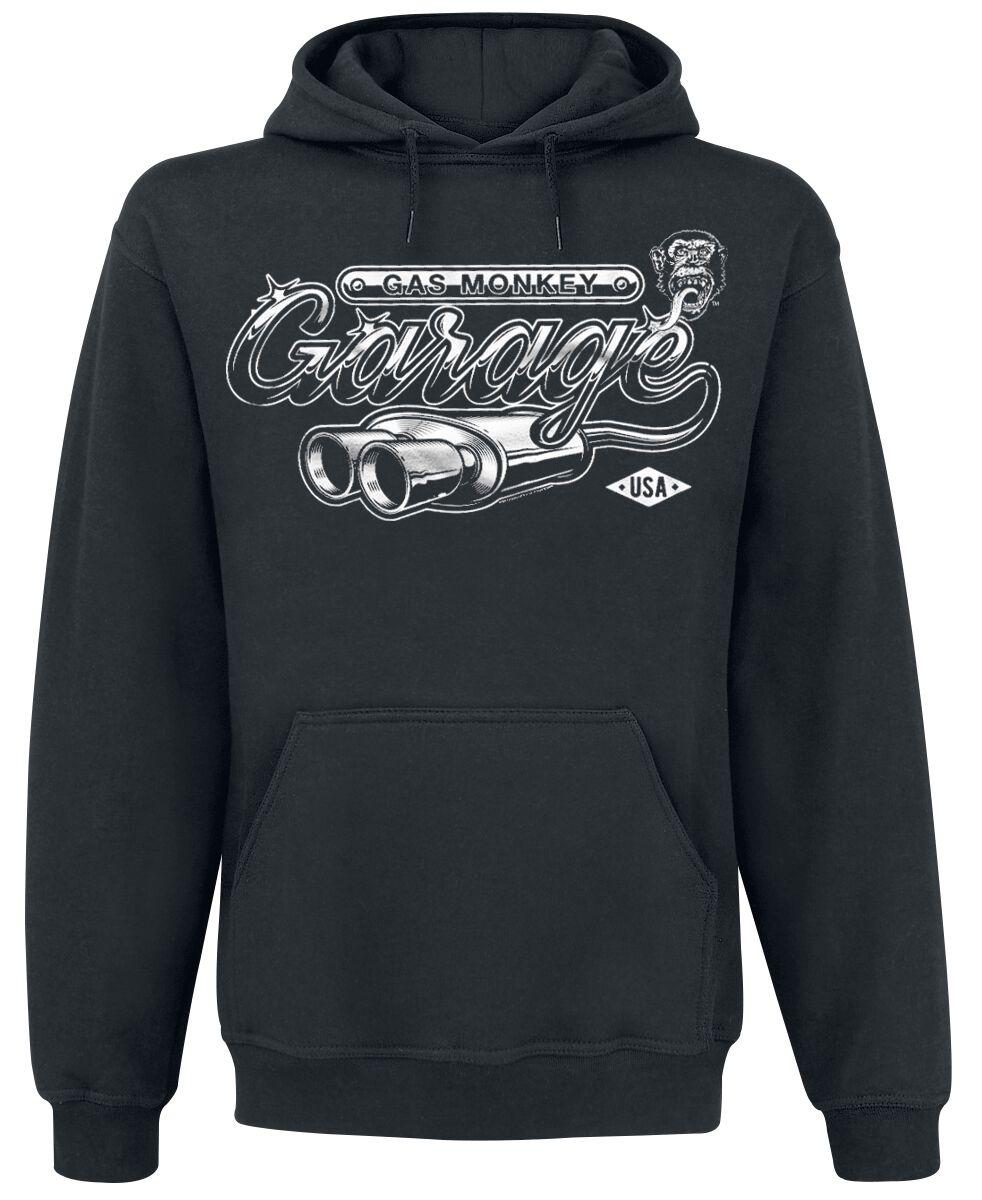 Merch dla Fanów - Bluzy z kapturem - Bluza z kapturem Gas Monkey Garage Garage Exhaust Bluza z kapturem czarny - 368322