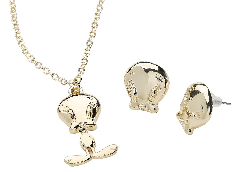 Merch dla Fanów - Biżuteria - komplety - Komplet biżuterii Looney Tunes Tweety Komplet biżuterii złoty - 368413