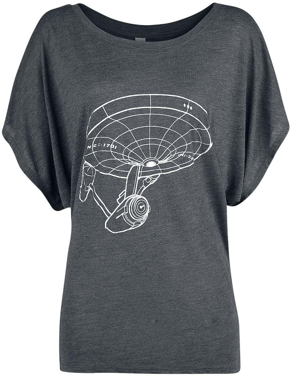 Star Trek Raumschiff Koszulka damska odcienie ciemnoszarego