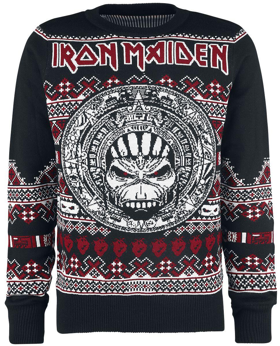Zespoły - Bluzy - Sweter z dzianiny Iron Maiden Holiday Sweater 2017 Sweter z dzianiny czarny/czerwony/biały - 368558