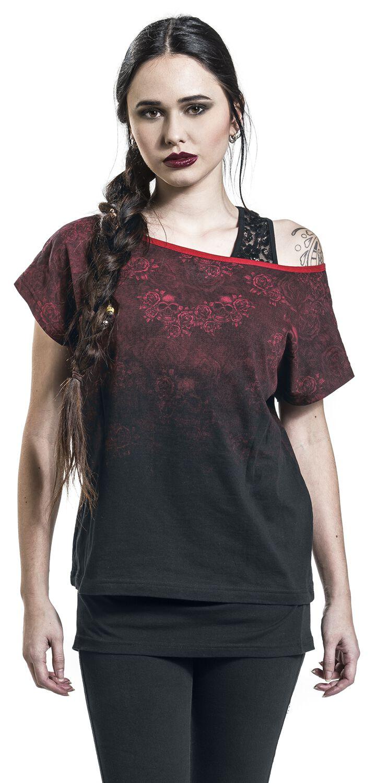 Image of   Rock Rebel by EMP Got My Mind Set On You Girlie trøje sort-rød