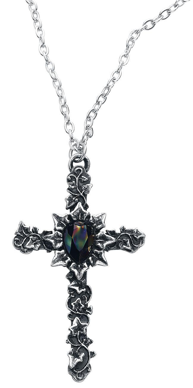 Image of   Alchemy Gothic Ivy Cross Halskæde sølvfarvet