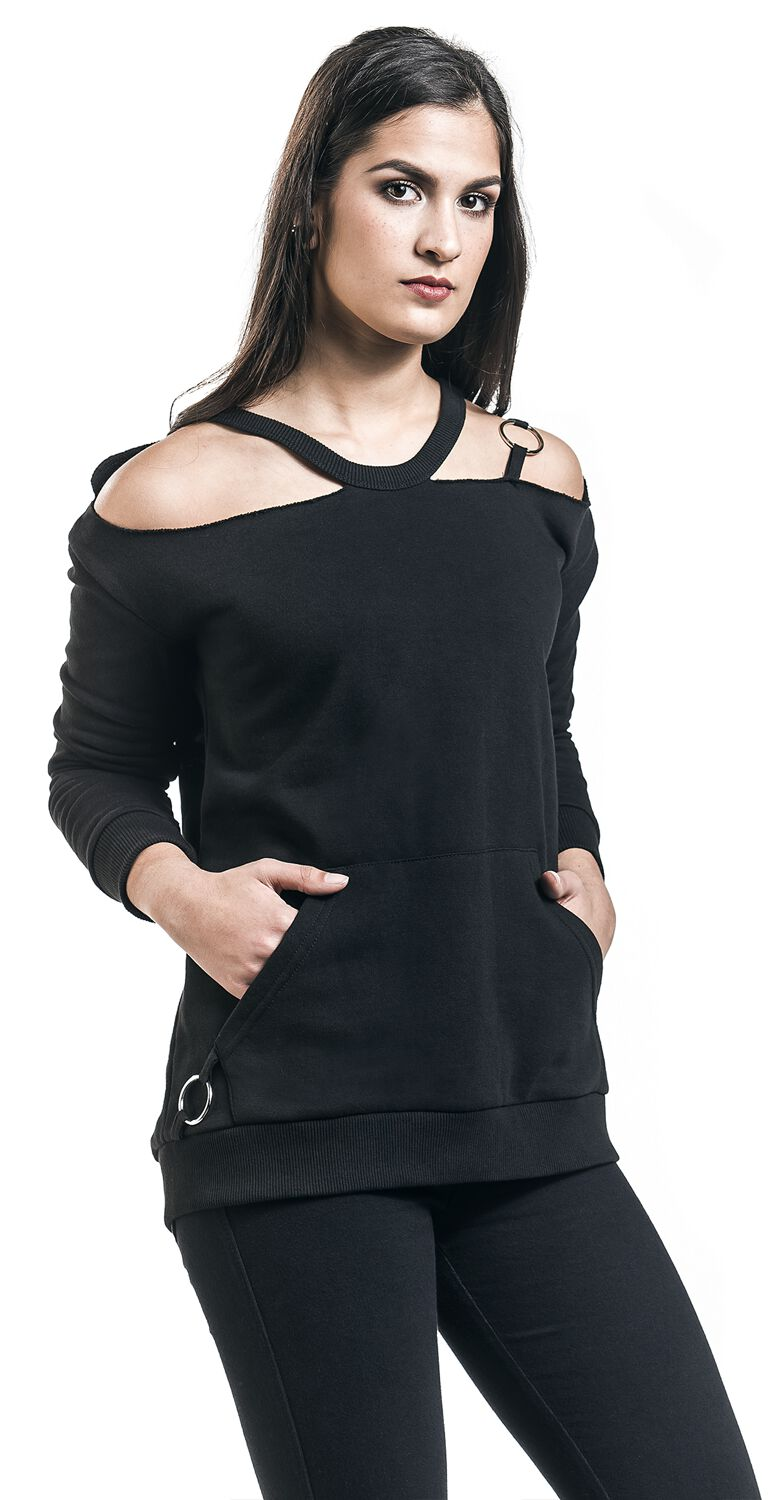 Image of   Black Premium by EMP Coming Undone Girlie sweatshirt sort