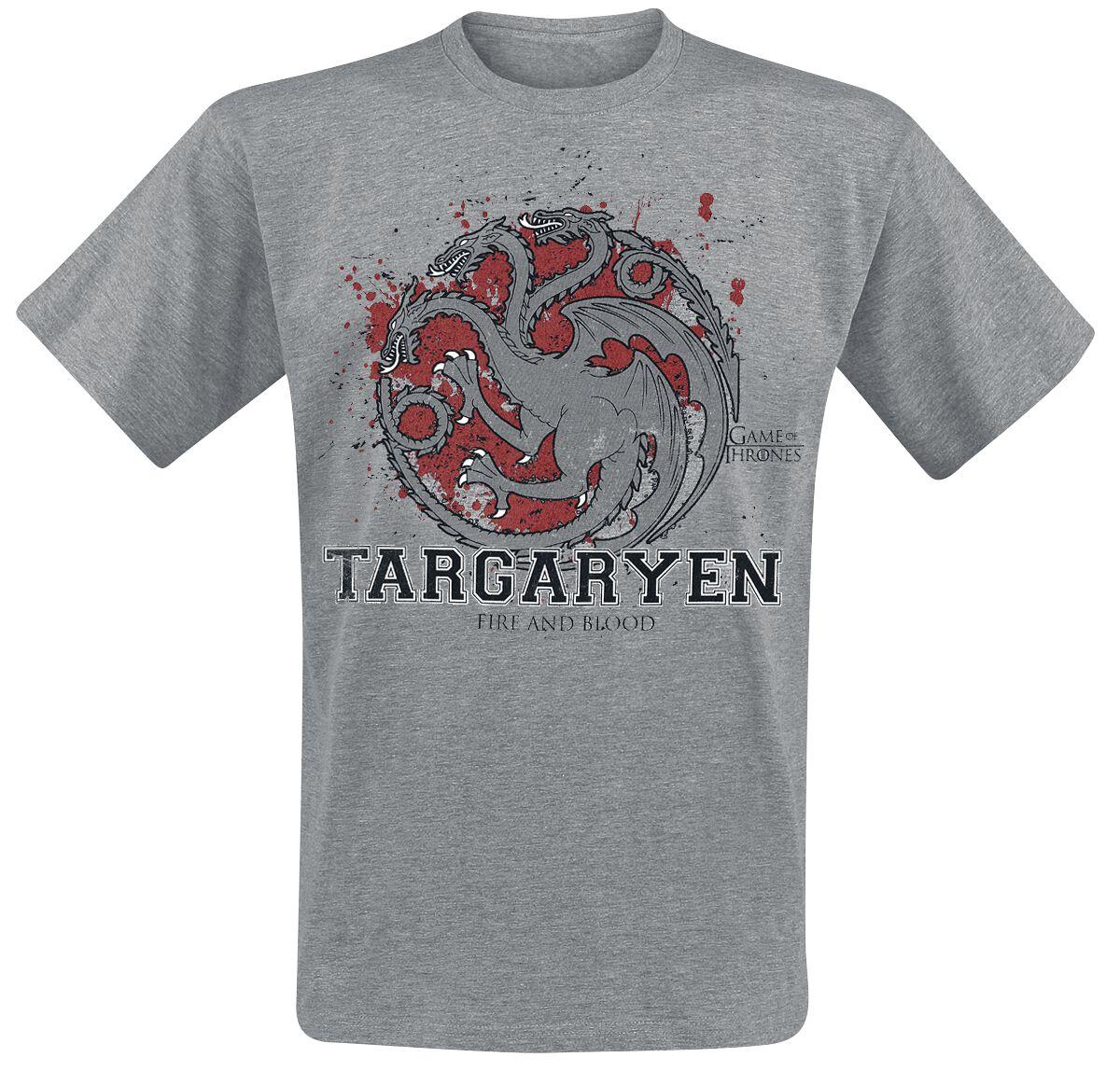 Image of   Game Of Thrones House Targaryen - Targaryen The Fighter T-Shirt grålig