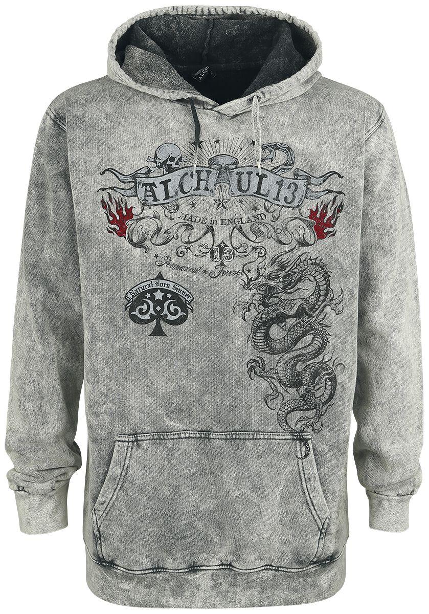 Marki - Bluzy z kapturem - Bluza z kapturem Alchemy England Crounching Dragon Bluza z kapturem szary - 369018