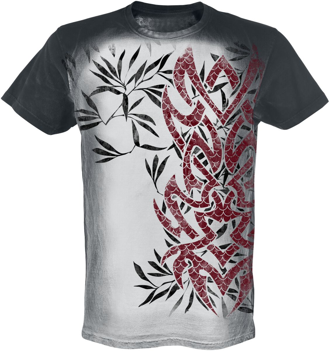 Image of   Outer Vision Red Koi Tattoo T-Shirt grå