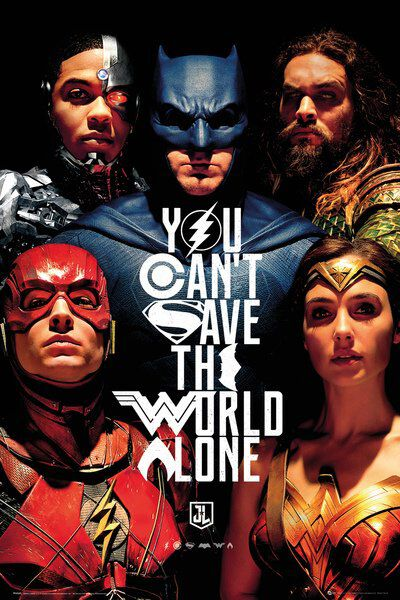 Image of   Justice League Faces Plakat multifarvet