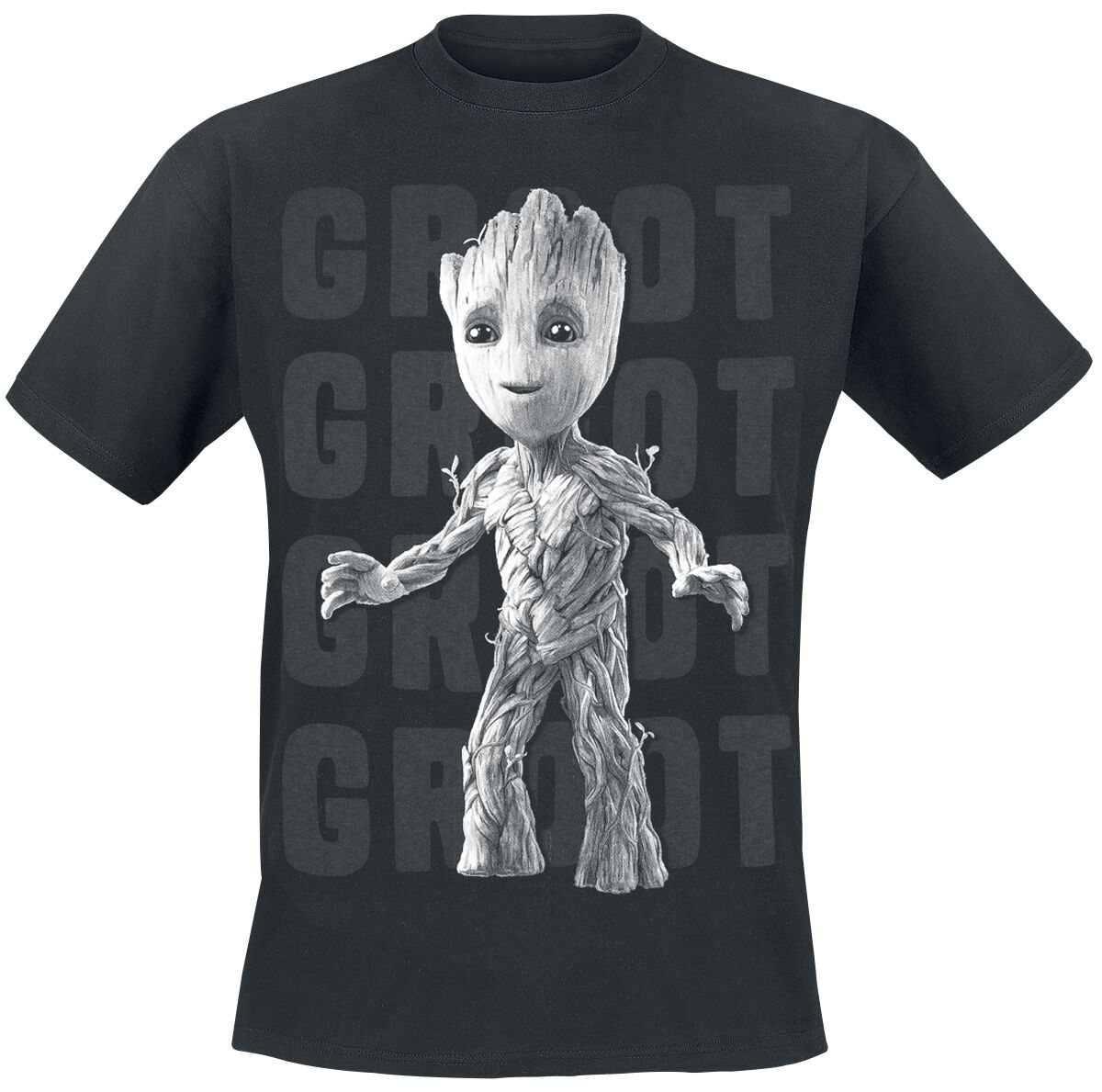 Image of   Guardians Of The Galaxy 2 - Groot Photo T-Shirt sort