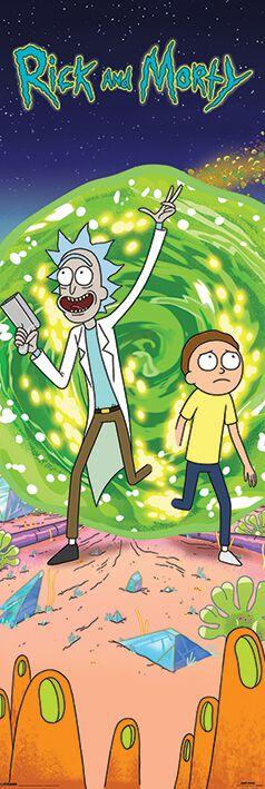 Image of   Rick And Morty Portal Dørplakat multifarvet