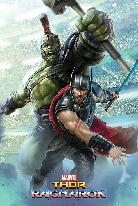 Image of   Thor Ragnarok - Thor And Hulk Plakat multifarvet