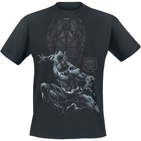 Black Panther Shield & Logo T-shirt noir
