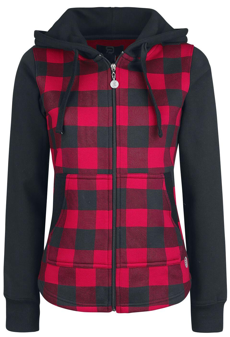 RED by EMP Stay Different Bluza z kapturem rozpinana damska czarny/czerwony