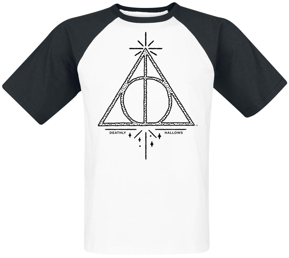 Image of   Harry Potter Deathly Hallows T-Shirt hvid-sort