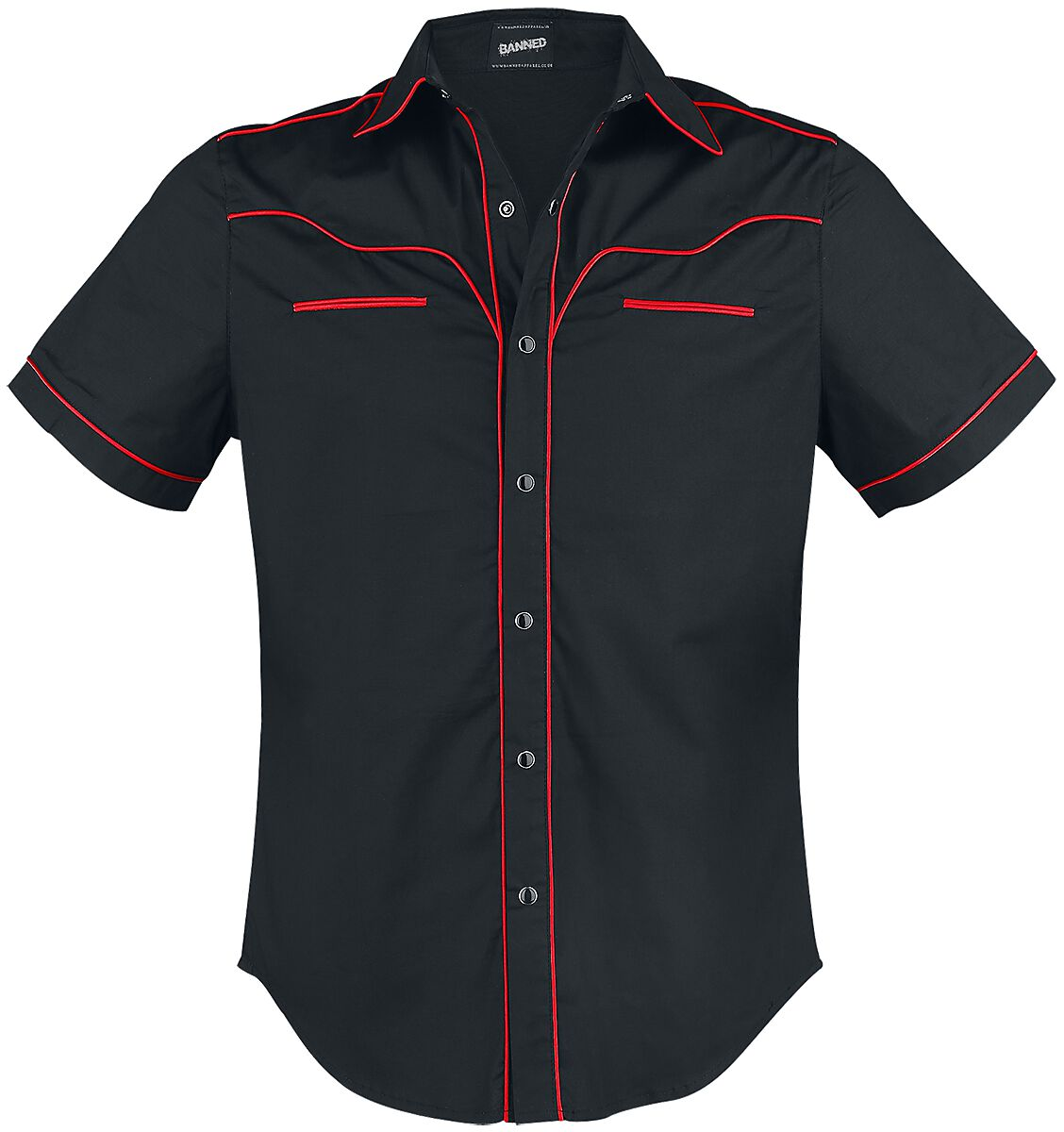 Image of   Banned Plain Trim Skjorte sort-rød