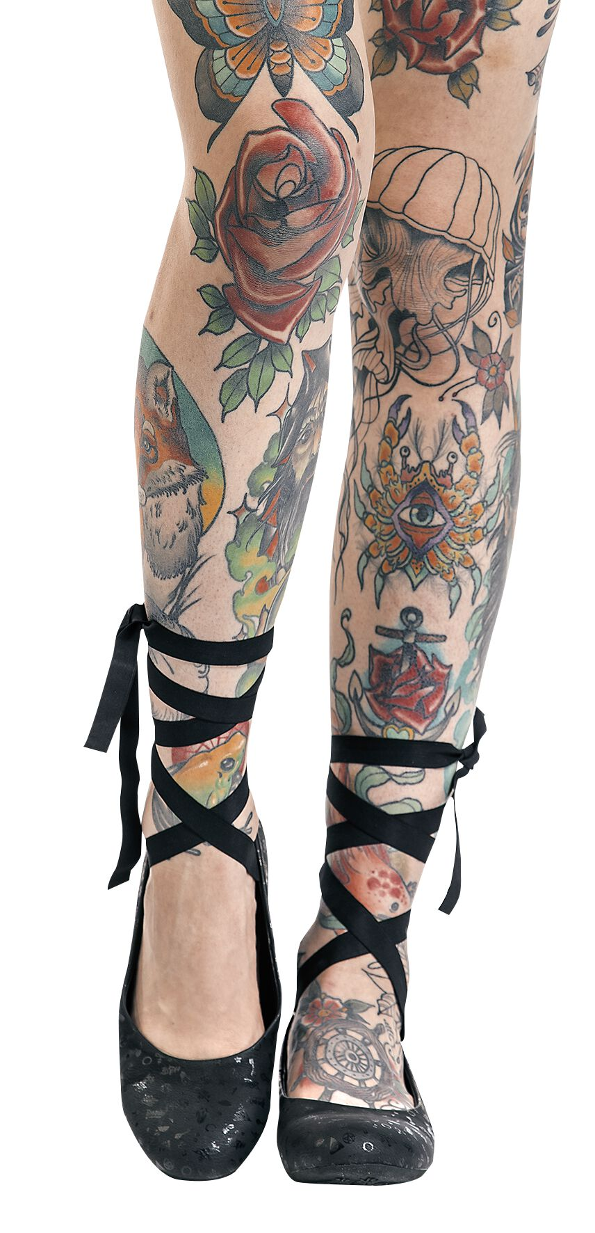 Ballerinas für Frauen - Gothicana by EMP Tattooed Dancer Ballerinas schwarz  - Onlineshop EMP
