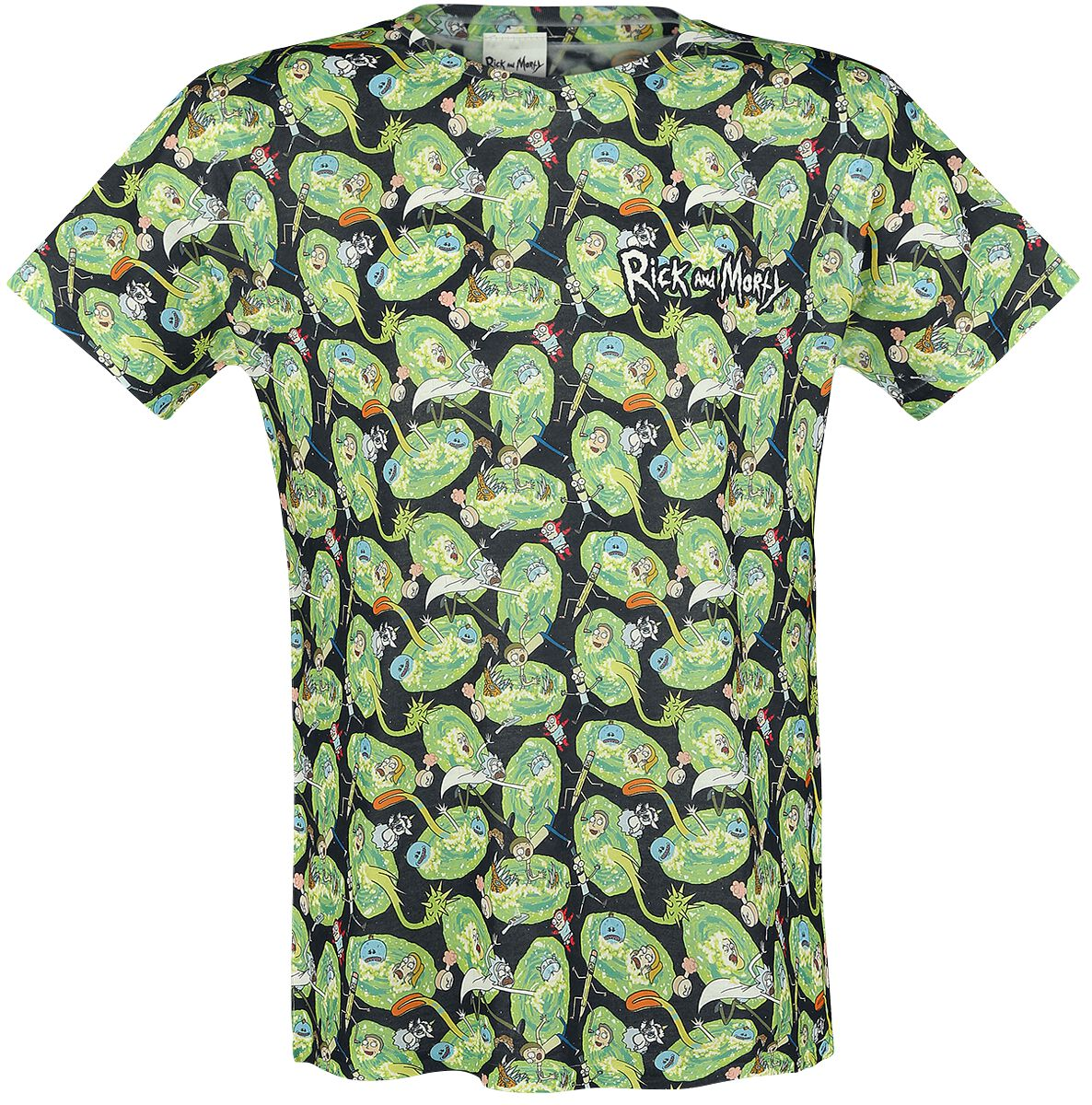 Image of   Rick And Morty Allover T-Shirt multifarvet