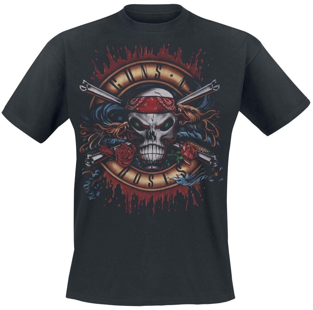 Image of   Guns N' Roses Green Light Skull T-Shirt sort