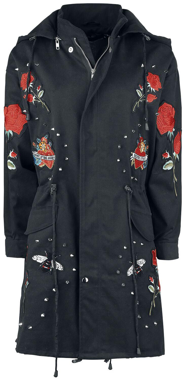 Marki - Płaszcze - Płaszcz damski Rockabella Rivet Rose Tour Jacket Płaszcz damski czarny - 369737