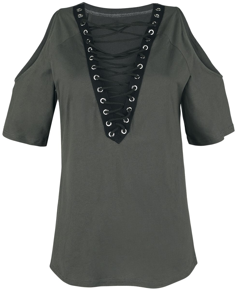Image of   Forplay Schulterfreies Shirt mit Schnürung Girlie trøje koks-sort