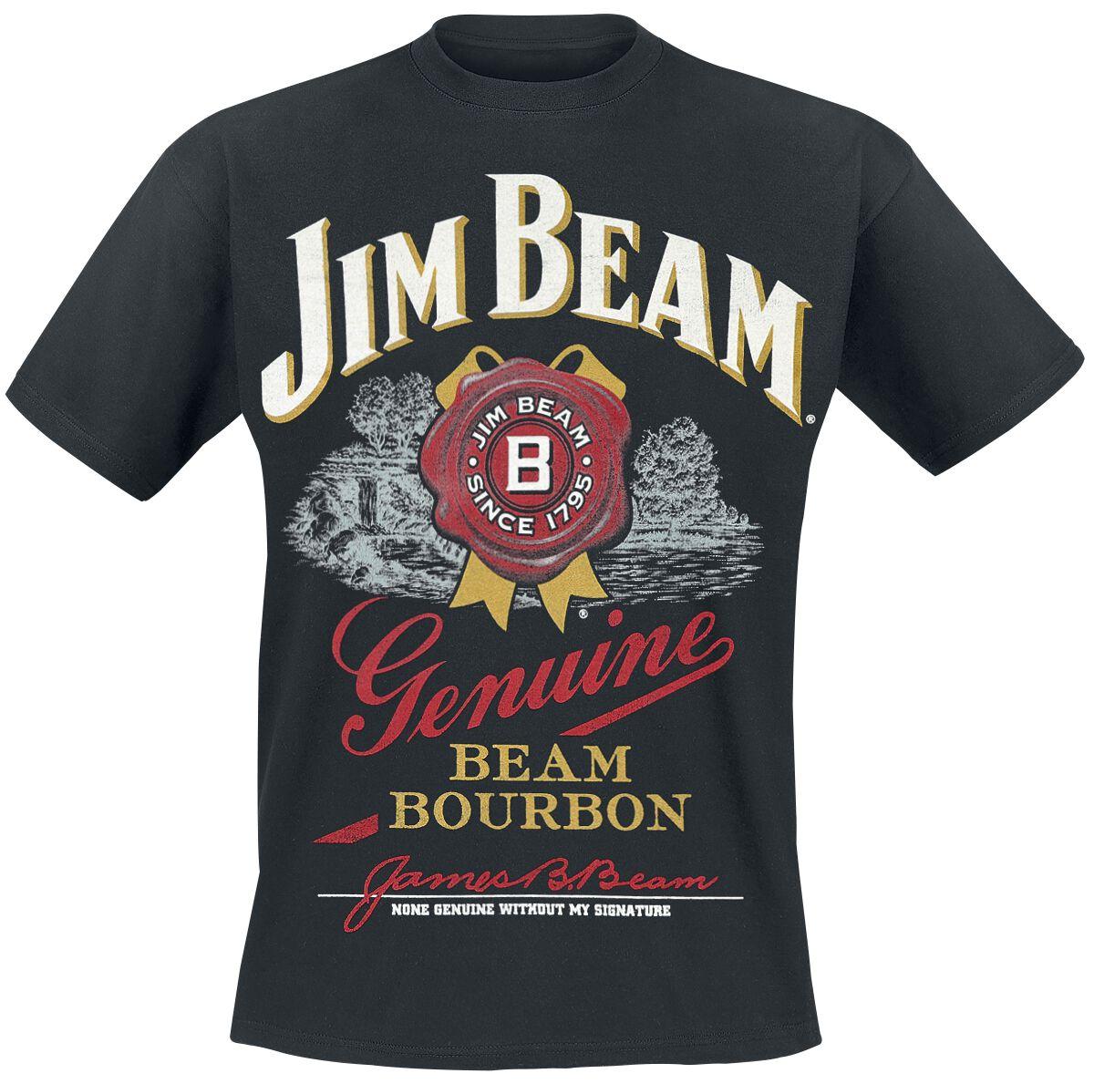 jim beam genuine beam bourbon t shirt schwarz ebay. Black Bedroom Furniture Sets. Home Design Ideas