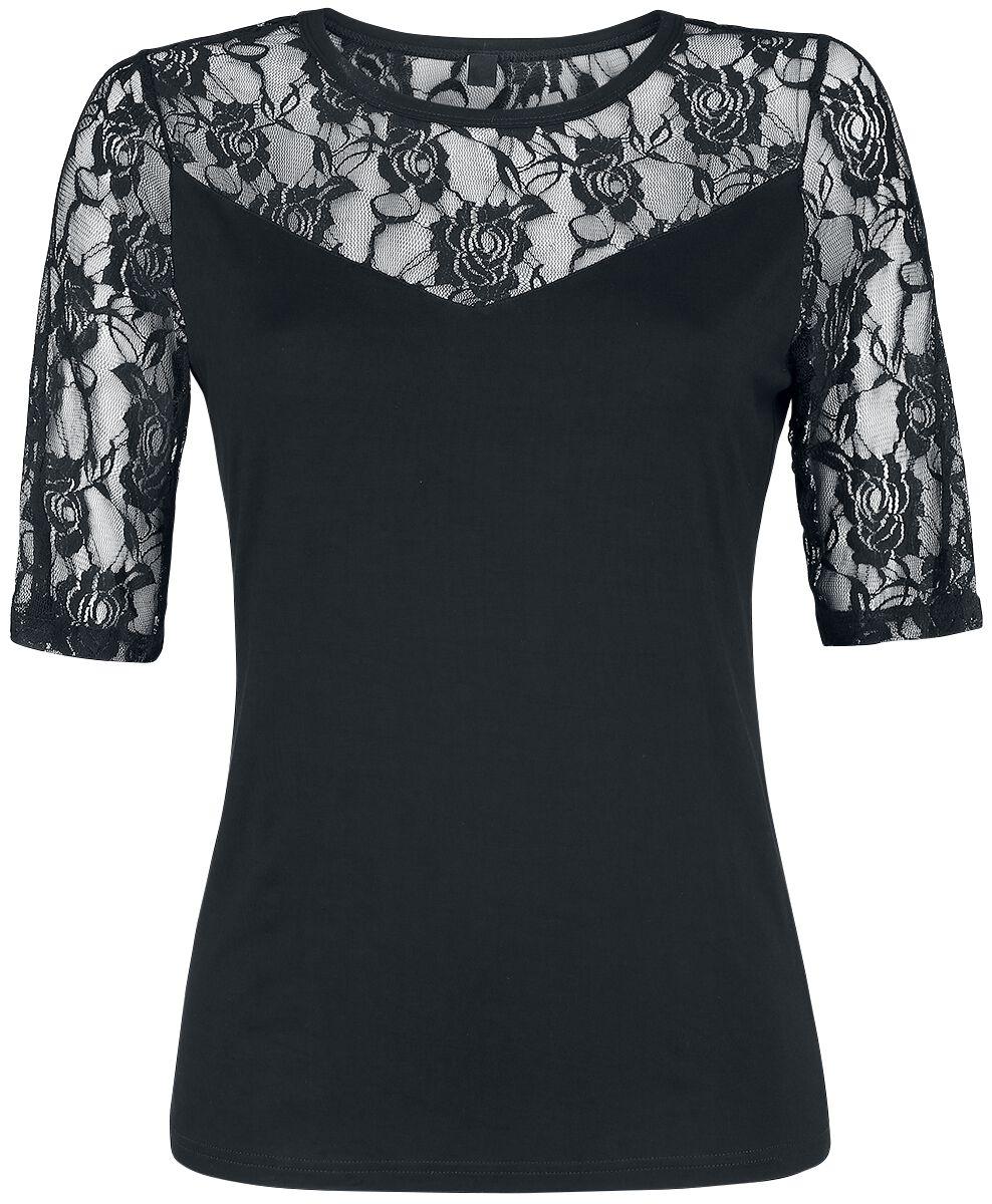 Image of   Forplay Lace Tee Girlie trøje sort