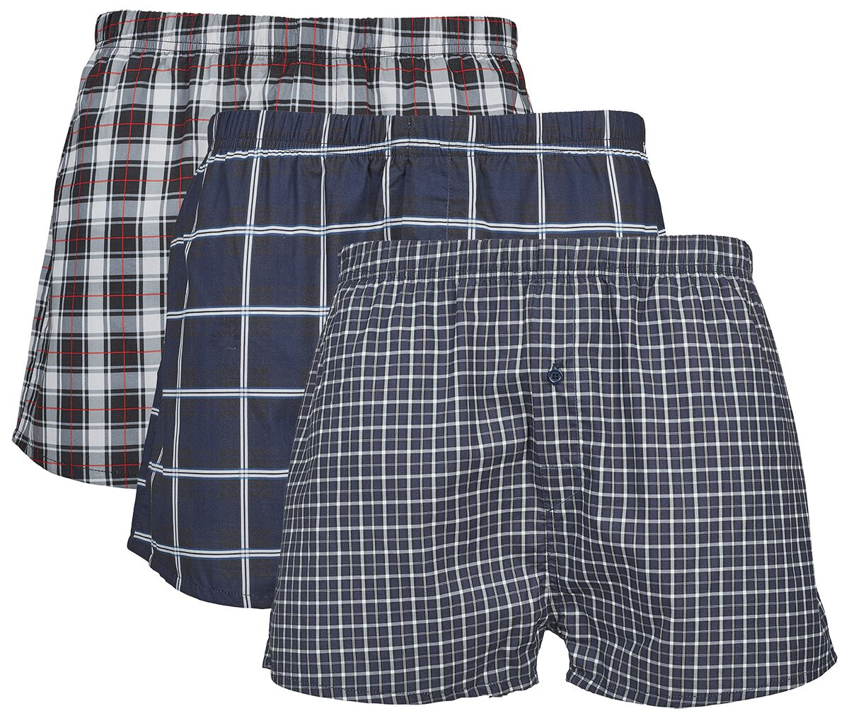 Image of   Urban Classics 3-Pak Checked Boxer Shorts Boxershorts multifarvet