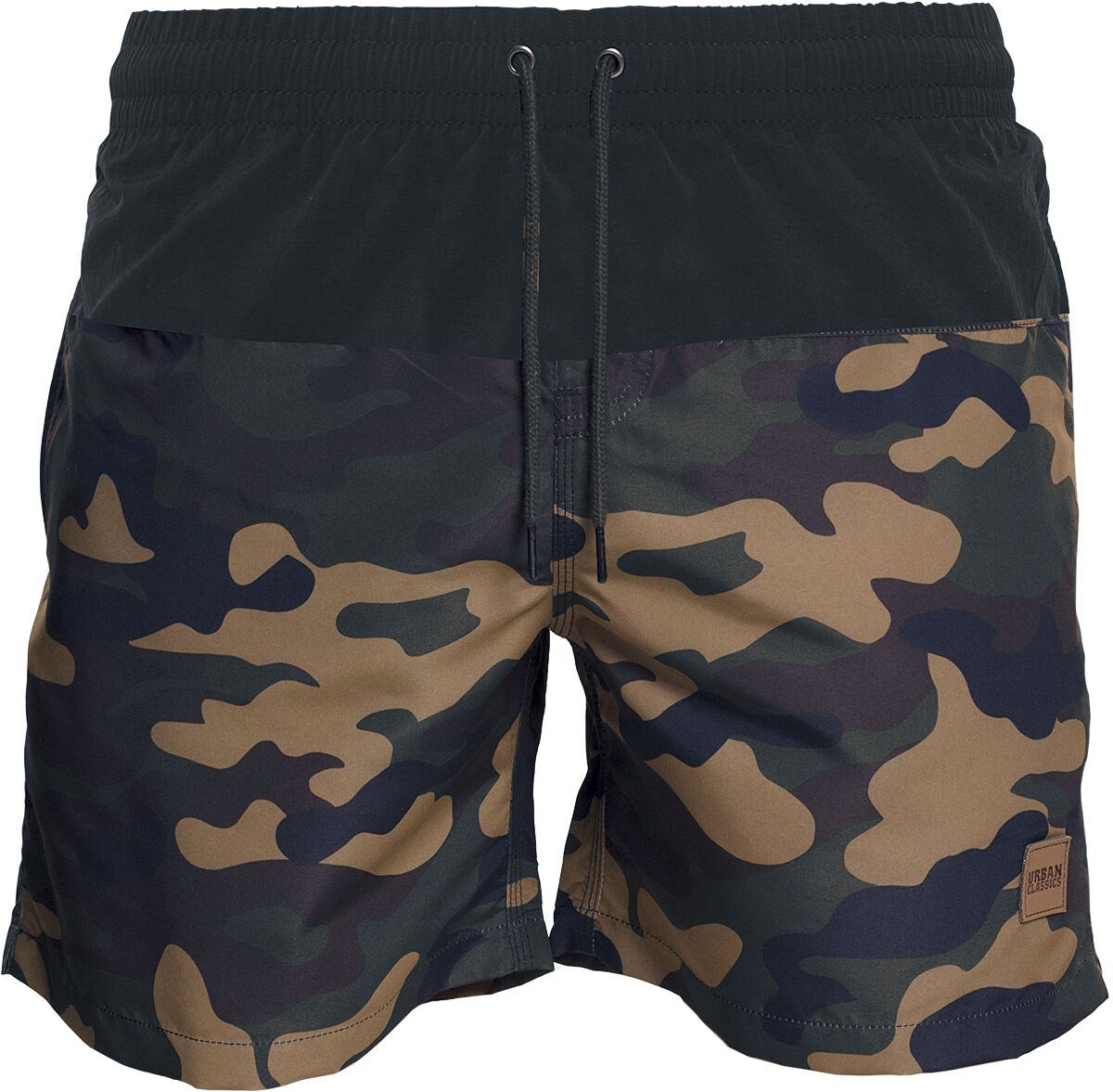 Image of   Urban Classics Block Swim Shorts Badeshorts woodland-sort