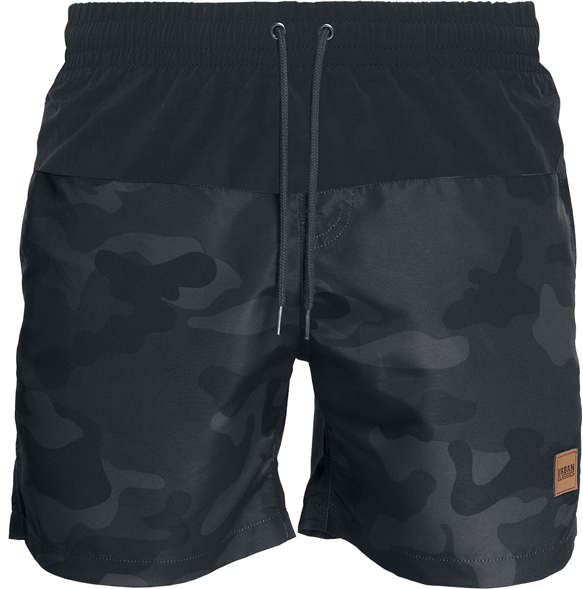 Image of   Urban Classics Block Swim Shorts Badeshorts mørk camo-sort