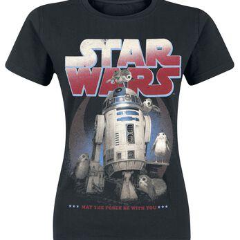 Star Wars Episode 8 - The Last Jedi - R2-D2 & Porgs T-shirt Femme noir