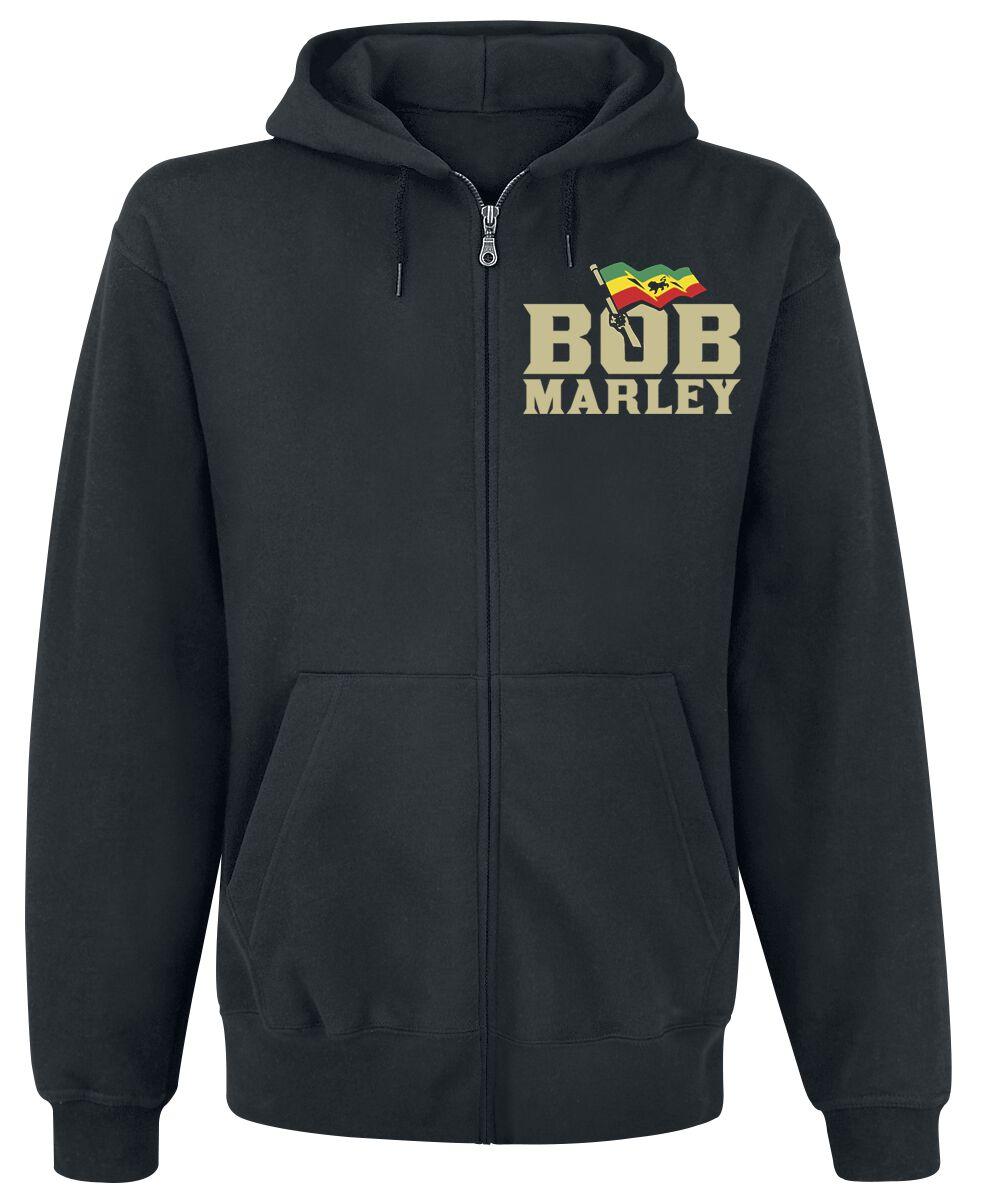 Zespoły - Bluzy z kapturem - Bluza z kapturem rozpinana Bob Marley Rasta Frame Bluza z kapturem rozpinana czarny - 370022
