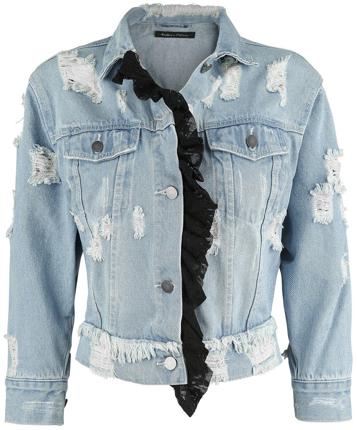 Image of   Fashion Victim Jeansjacke mit Destroyed Effekt Girlie jeansjakke blå