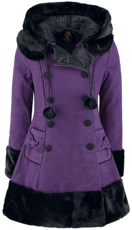 Hell Bunny Sarah Jane Coat Płaszcz damski jasnofioletowy (Lilac)