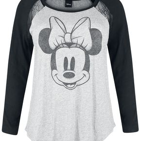 Mickey & Minnie Mouse Minnie Mouse - Pointillismus Manches Longues Femme gris chiné/noir