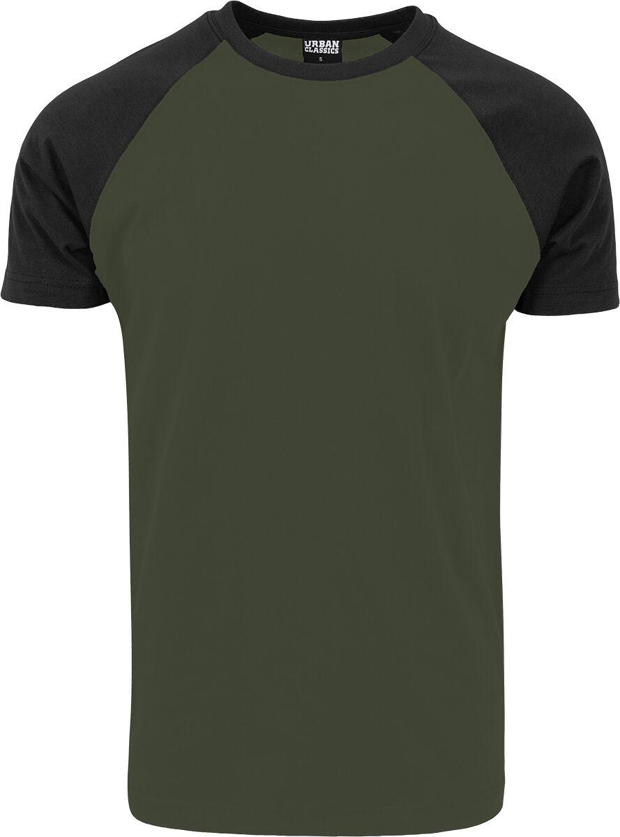 Image of   Urban Classics Raglan Contrast Tee T-Shirt olivengrøn-sort