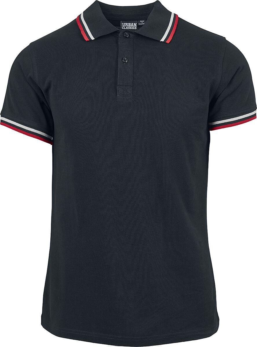 Image of   Urban Classics Double Stripe Poloshirt T-Shirt sort-hvid-rød