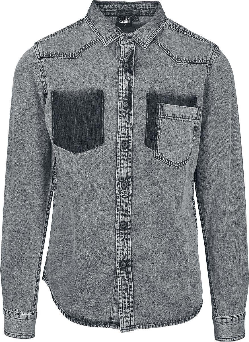 Image of   Urban Classics Denim Pocket Shirt Skjorte grå