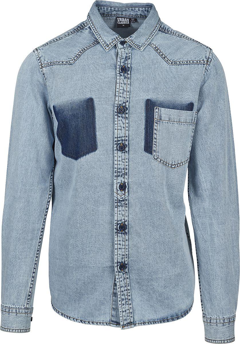 Image of   Urban Classics Denim Pocket Shirt Skjorte blå
