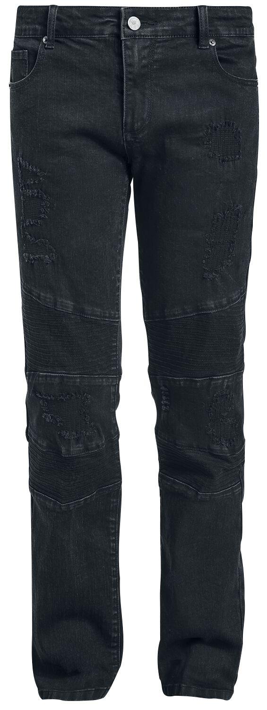 Marki - Spodnie długie - Jeansy Doomsday Destroyed Biker Jeans Jeansy czarny - 370251