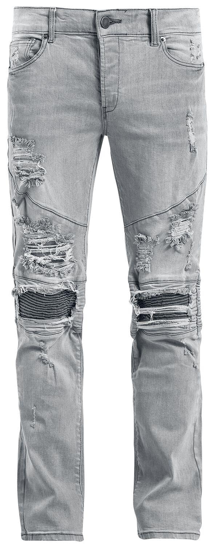Marki - Spodnie długie - Jeansy Doomsday Destroyed Biker Zip Jeans Jeansy szary - 370254