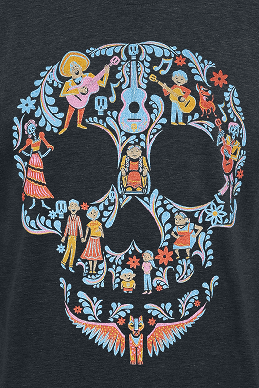 coco team family skull t shirt schwarz meliert s ebay. Black Bedroom Furniture Sets. Home Design Ideas