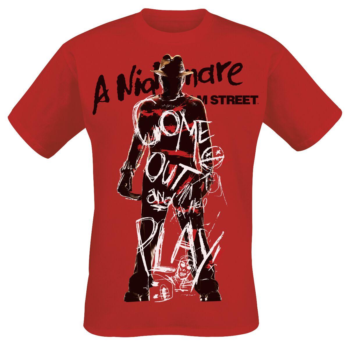 Merch dla Fanów - Koszulki - T-Shirt Koszmar z ulicy Wiązów Freddy Krueger - Come Out And Play T-Shirt czerwony - 370666