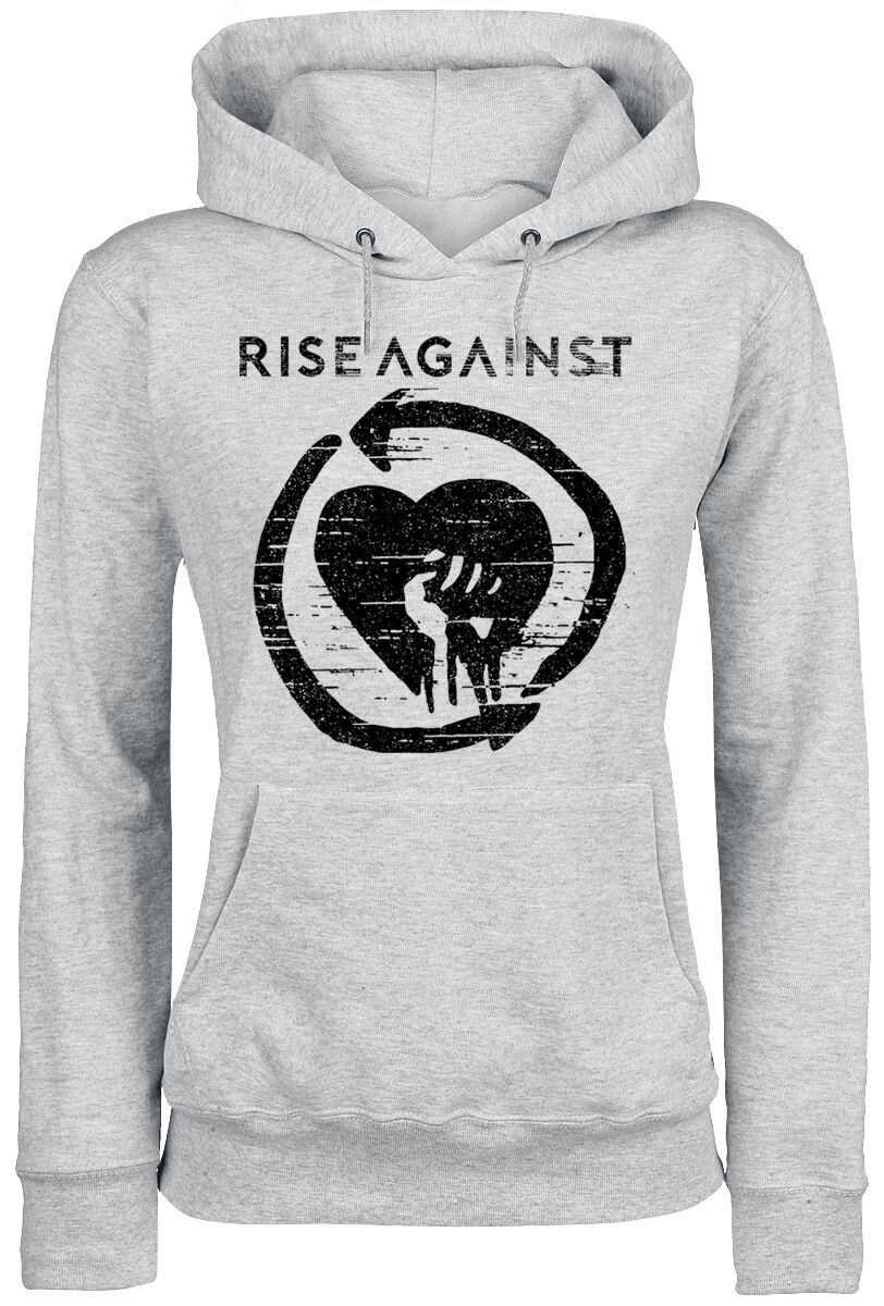 Image of   Rise Against Distressed Heartfist Girlie hættetrøje grålig