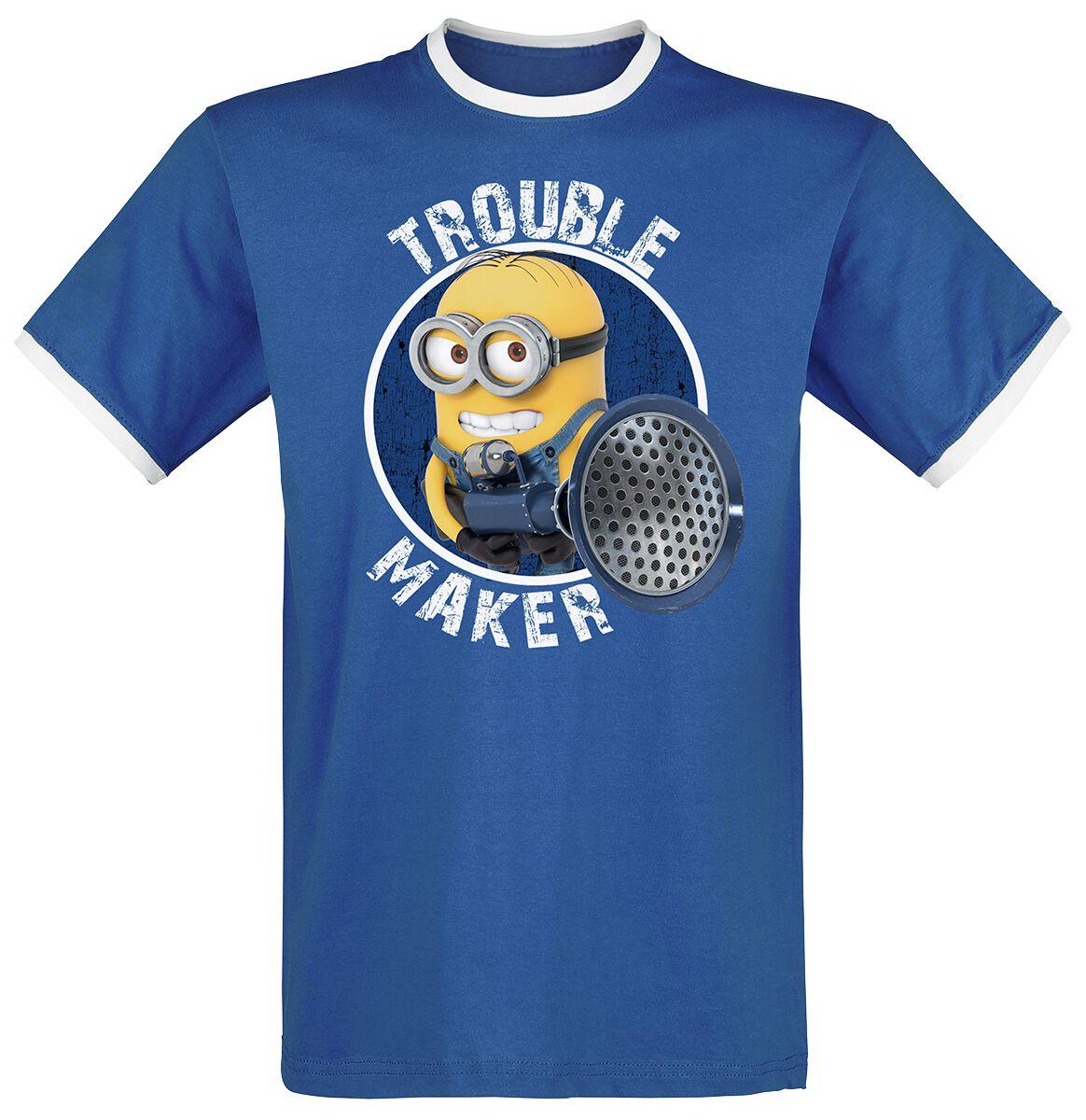 Image of   Minions Trouble Maker T-Shirt blå-hvid