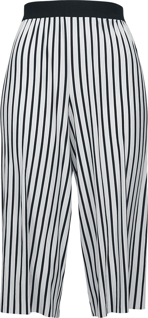Hosen für Frauen - Urban Classics Ladies Stripe Pleated Culotte Girl Hose schwarz weiß  - Onlineshop EMP